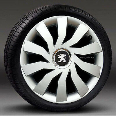 """Silver 15"""" wheel trims, Hub Caps, Covers to Peugeot 307/308 (Quantity 4)"""