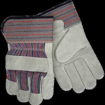 (LEATHER Palm WORKING GLOVES MENS 1 pair Large, with safety cuff)
