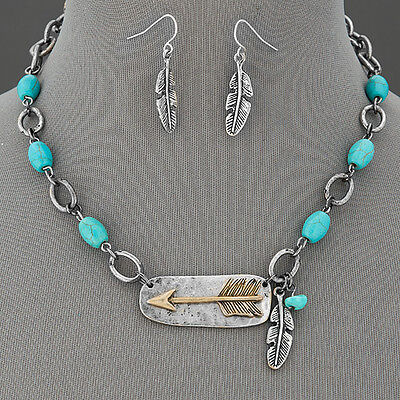 Antique Silver Chain Turquoise Accents Arrow Metal Feather Pendant Necklace