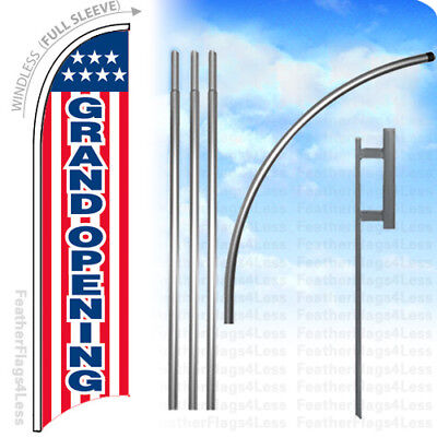 Grand Opening - Windless Swooper Flag 15 Kit Feather Sign - Stars Stripes Rb