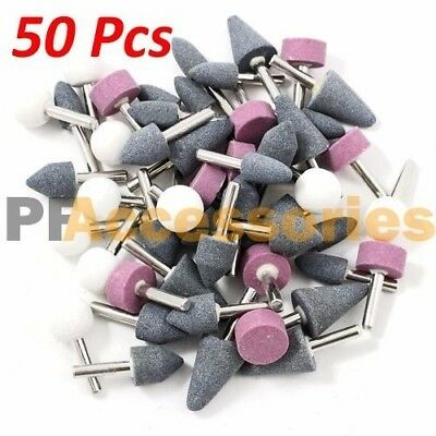 "50 Pcs 1/8"" inch Assorted Mounted Stone Point Abrasive Grinding Wheel Bit Set"