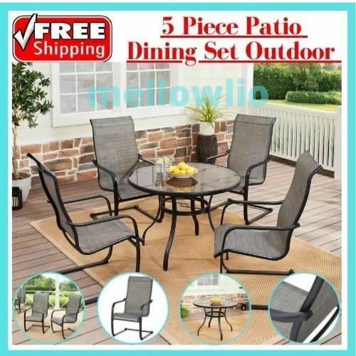 Garden Furniture - 5 Piece Patio Dining Set Outdoor Garden Table Chairs Bistro Furniture Lawn Yard