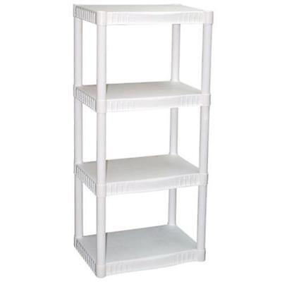 Plano 4 Tier Heavy Duty Plastic Shelves White Shelf Storage Unit Rack Organizer