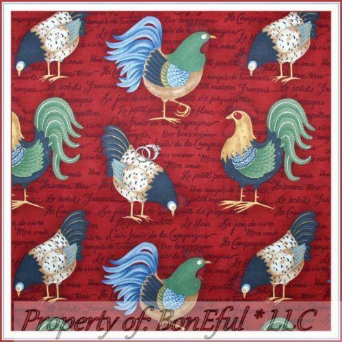 French Country Rooster Fabric Ebay