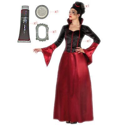 �m ML-XL + Dracula Zähne Blut Makeup Königin Vampir Frau (Vampirin Kostüm)