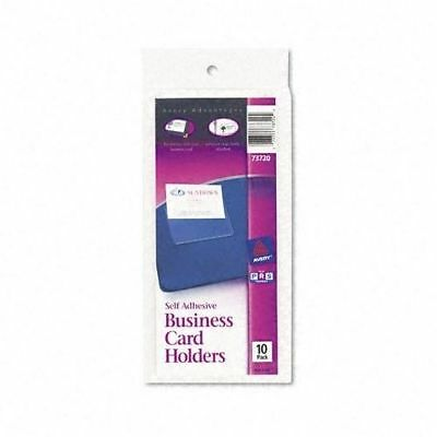10 X Avery Self-adhesive Top-load Business Card Holders 3.5 X 2 Clear 10pk 73720