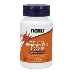 Vitamin D-3, 5000iu x 120Softgels, Colds/Flu, Bone Health, Mood, Now Foods