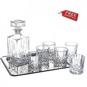 Crystal Whiskey Decanter Set Gl Brandy Square Carafe Scotch Vodka 7 X Vintage