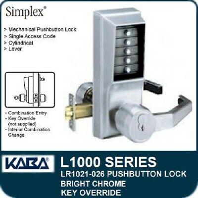 Kaba Simplex Lr1021s-026 Pushbutton Lock Rh Rhr Schlage - Bright Chrome