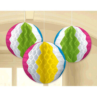 SUMMER BEACH BALL HONEYCOMB DECORATIONS (3) ~ Birthday Party Supplies Ocean - Beach Birthday Party Supplies