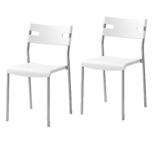 Ikea white stacking chairs (6)