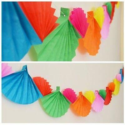 Rainbow Party Banner (Celebration Rainbow Paper Fan Garland Banner 12 Ft Long Birthday Fiesta)