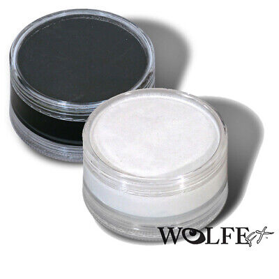 Wolfe Face Body Paint FX Makeup Black & White Set Two 90 Gram Halloween Festival](Black And White Face Halloween Makeup)