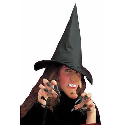 Hexen Set Hut Nase Kinn Gebiss und Fingernägel Halloween Fasching Zubehör ()