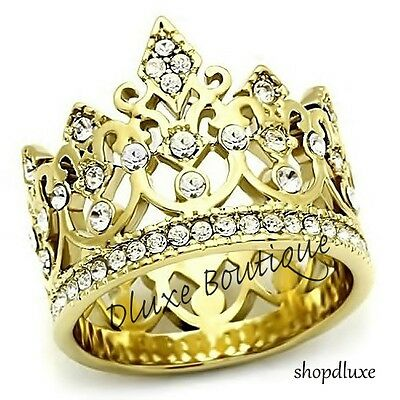 Womens Girls Royalty Queen Princess Crown 14K Gold Plated Fashion Ring Sz 5 10