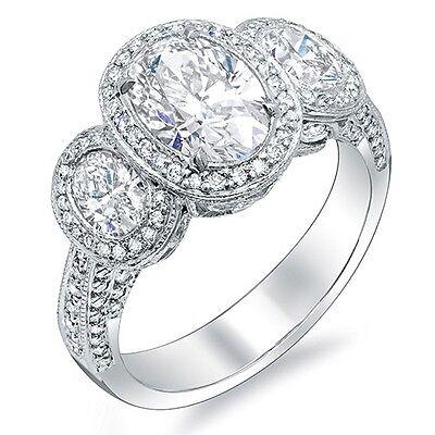 2.76 Ct. Halo Oval Cut Halo 3 stone Diamond Engagement Ring H,VS2 GIA 18K