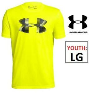 NEW UNDER ARMOUR TEE BOYS YLG 1331687 233371884 Youth Big Logo T-Shirt Volt Yellow Kids