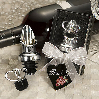 1 Double Heart Design Wine Bottle Stopper Pourer Favor WEDDING Reception Gift