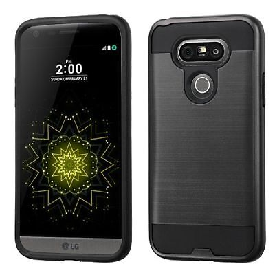 For LG G5 Black Hard Silicone Hybrid Rubberized Case Cover