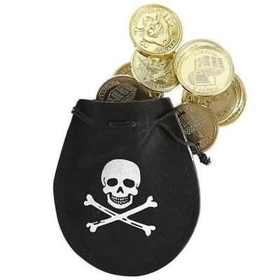 PIRATENTASCHE MIT 12 DUBLONEN Piraten Seeräuber Räuber Kostüm Zubehör w0672 ()