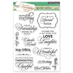 PENNY BLACK RUBBER STAMPS CLEAR SPECIAL WISHES STAMP SET 2014