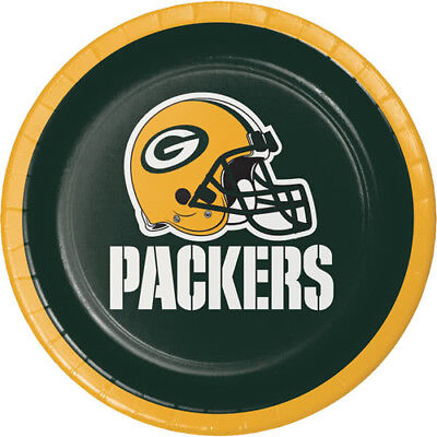 NFL GREEN BAY PACKERS SMALL PAPER PLATES (8) ~Birthday Party Supplies Dessert (Packer Party Supplies)
