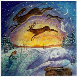 YULE CHRISTMAS GREETING CARD Gaia PAGAN GODDESS HARE SOLSTICE WENDY ANDREW