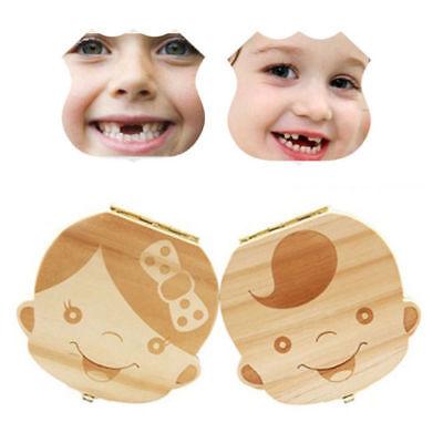 2 Stücke Holz Milchzähne Box Junge Mädchen Muster Zahndose, Zähne Box für Baby