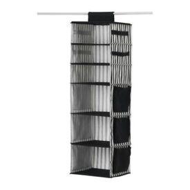 IKEA Malla Hanging 6-Shelves Wardrobe Organiser Storage Rack Black & White Stripes