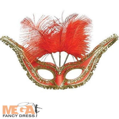 Red & Gold Gala Domino Mask Ladies Fancy - Domino Fancy Dress Kostüme