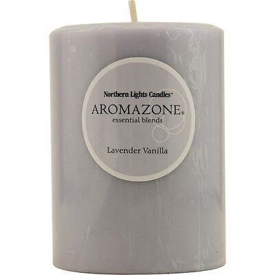 Lavender & Vanilla Essential Blend One 3X4 Inch Pillar Essential Blends Candle. -