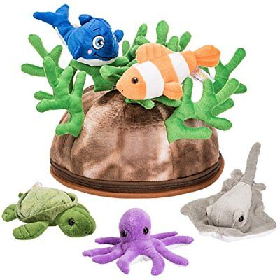 Prextex 5 Piece Set of Plush Soft Stuffed Sea Animals Playse