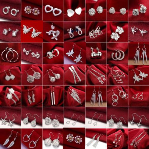 Jewellery - Women 925 Silver Sterling Ear Stud Dangle Hoop Drop Earrings Crystal Jewelry Hot