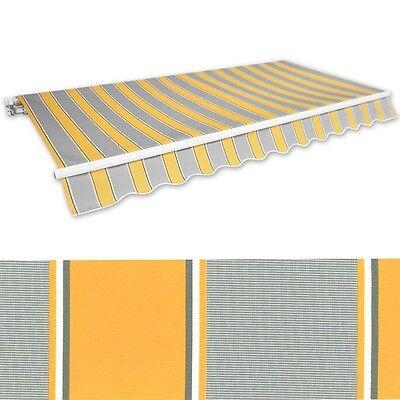 Markise Gelenkarmmarkise 3,5x2,5m gelb-grau Alu Handkurbel Sonnenschutz NEU