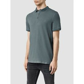 Allsaints XS Deep Ocean Blue Polo Shirt