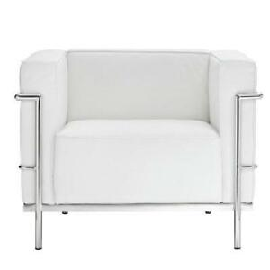 New Lexmod Le Corbusier Style LC3 Armchair in Genuine White Leather, PICKUP ONLY - DI2