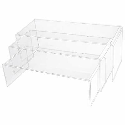 3 Pack Large Clear Acrylic Riser Set Acrylic Display Risers Shelf 3 Sizes A
