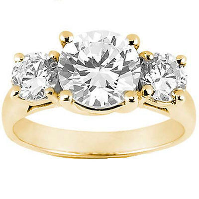 2.81 carat, 3 Stone Round Diamond Engagement 14K Yellow Gold RING GIA H SI1