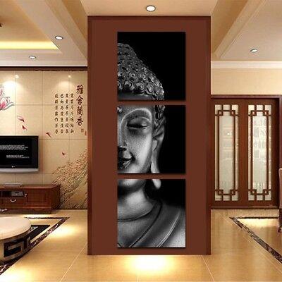 Huge Buddha's Head Modern Home Wall Decor Art Oil Painting Picture Print 3Pcs