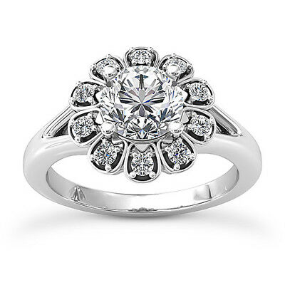 Halo Split Shank 0.90 Carat VS2/H Round Cut Diamond Engagement Ring White - Diamond Halo Split Shank