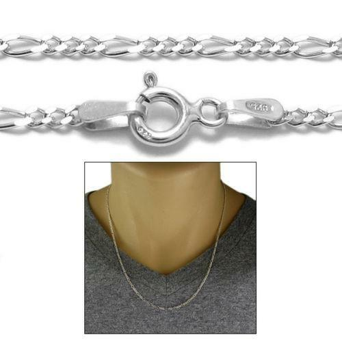 Italy 925 Sterling Silver Diamond Cut Figaro Chain Necklace Real Mens Womens 2mm 3