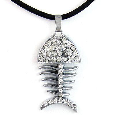 Silver Crystal Rhinestone Fish Bone Pendant Black Genuine Leather Necklace Cord