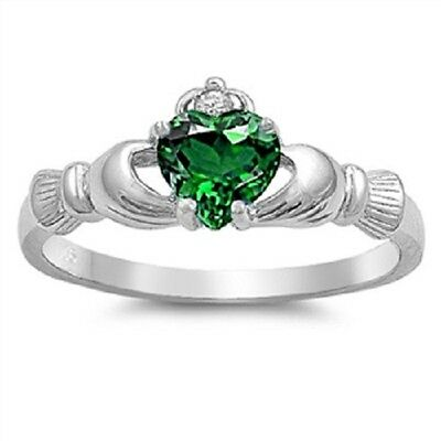 (Claddagh Ring 925 Sterling Silver Emerald CZ Heart Promise Ring)