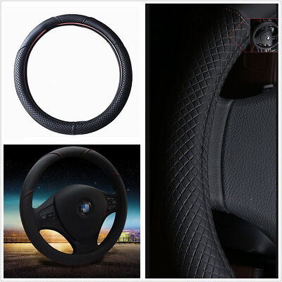 38cm 15inch Car Steering Wheel Cover Black & Red Stitching PU Leather Universal  (Pontiac Sunfire Specifications)