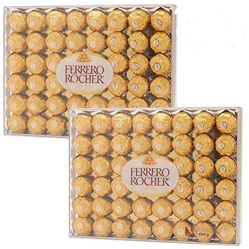 2 PACK FERRERO ROCHER FINE HAZELNUT CHOCOLATES, 21.2 OZ EACH