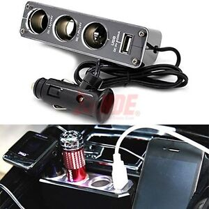3in1 Way USB Port Car DC Cigarette Lighter Socket Power Adapter Charger Splitter