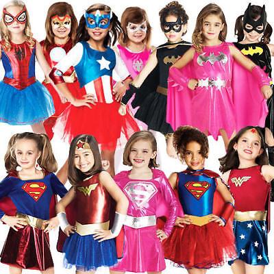 Superhero Girls Fancy Dress Book Characters Childrens Halloween Kids Costume
