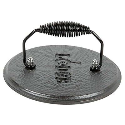 Cast Iron Round Grill Pan - Cast Iron Bacon Round Grill Press & Pan Press Handle Vintage Cooking Cookware