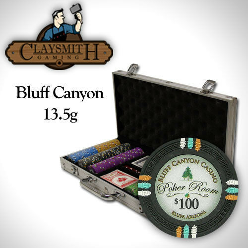 NEW 300 PC Bluff Canyon 13.5 Gram Clay Poker Chips Aluminum Case Set Pick Chips