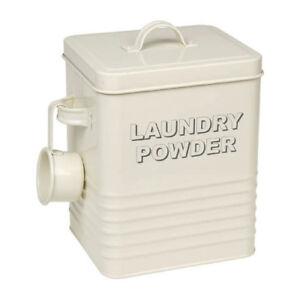 Vintage Style Large Cream Laundry Powder Tin, Retro Detergent Storage Container